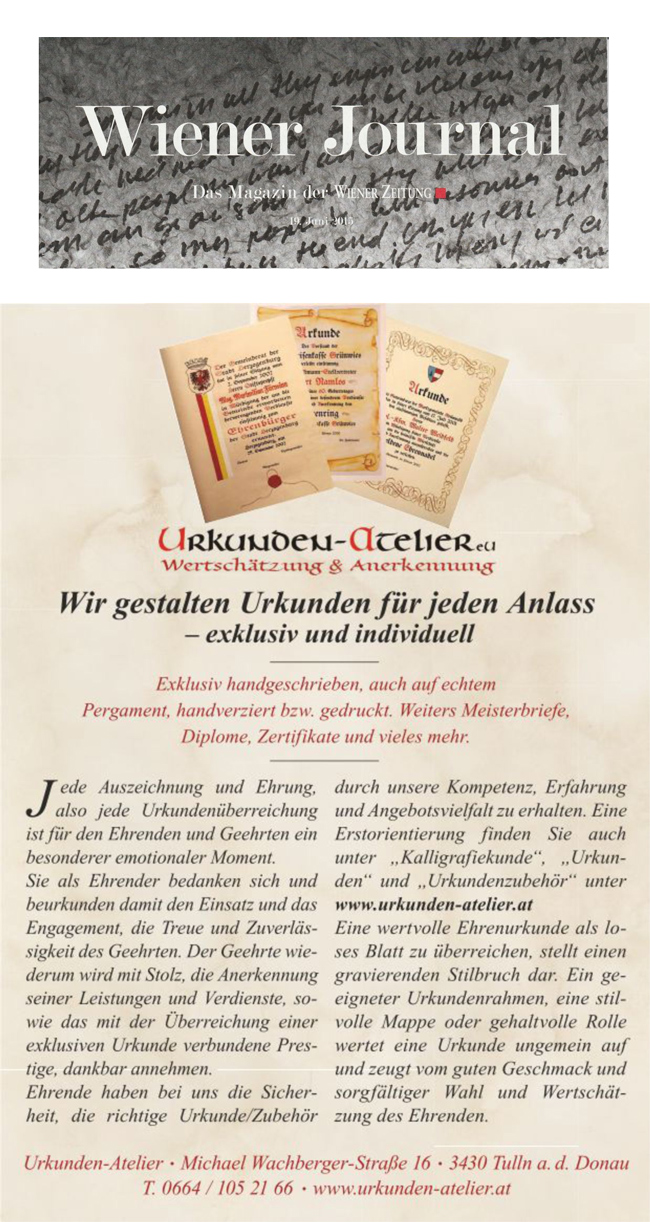 Urkunden-Atelier Maria Fuchs-Hesse | Medienberichte